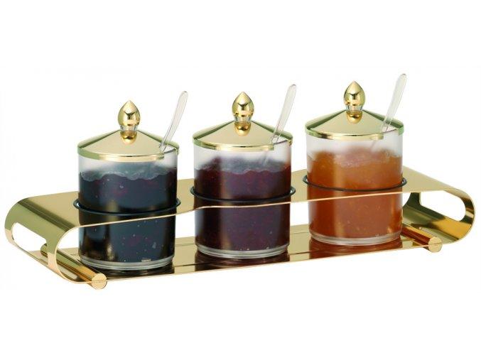 Frilich Elegance Servírovací Tác GOLD Podnos bar marmeláda 3 nádoby