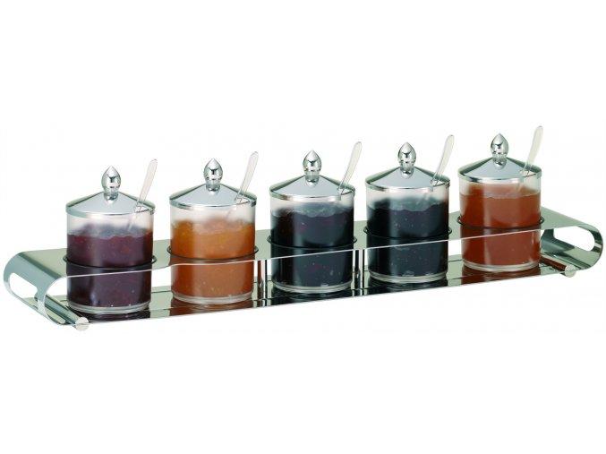 Frilich Elegance Servírovací Tác Podnos NEREZ bar marmeláda 5 nádoby