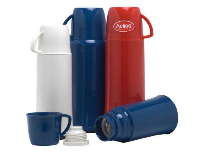Helios Elegance Termoska 500 ml bílá červená modrá tvrdý plast Hrnek šroubovací víčko výlety pikniky, 6 Kusů