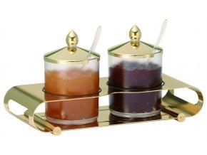 Frilich Elegance Servírovací Tác Podnos bar Gold marmeláda 2 nádoby
