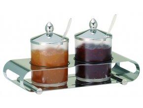 Frilich Elegance Servírovací Tác Podnos bar Nerez marmeláda 2 nádoby