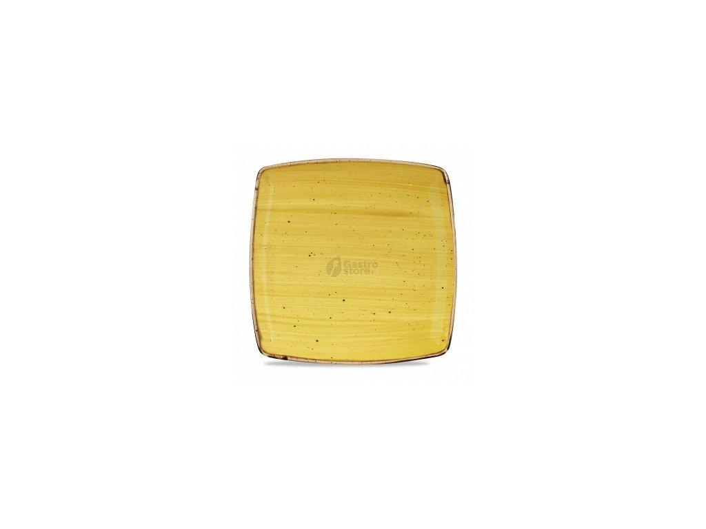 CHURCHILL Stonecast - Mustard Seed Yellow 26,8 x 26,8 cm Hranatý talíř, ručně zdobený