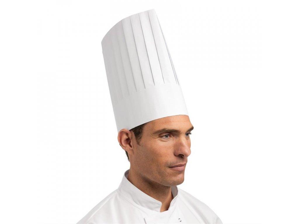 Jednorázová papierová kuchárska čapica biela