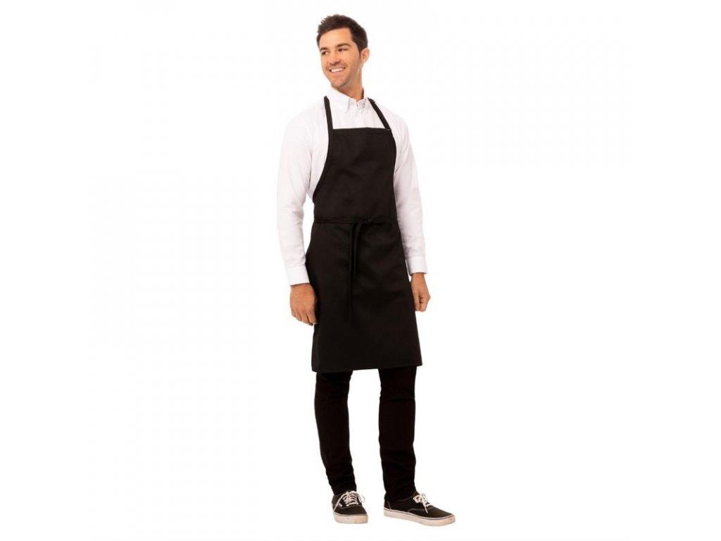 Chef Works náprsní zástěra černá