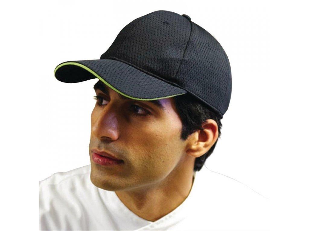 Colour by Chef Works Baseballová čepice Cool Vent™ černá s limetkovým lemem