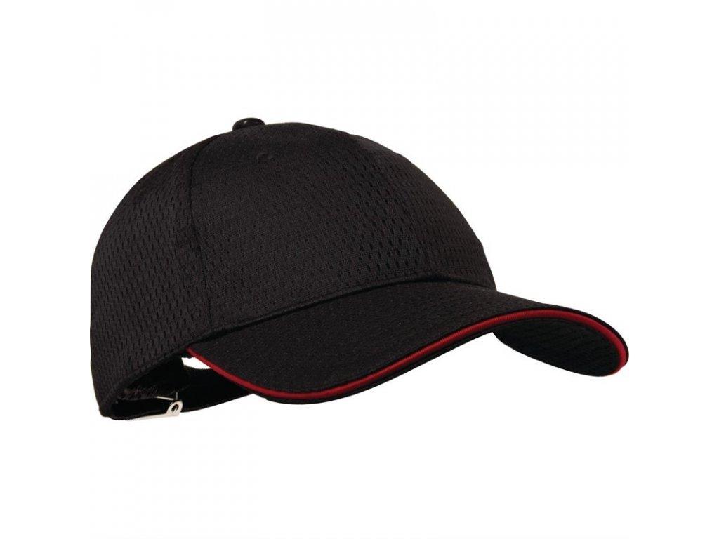 Colour by Chef Works Baseballová čepice Cool Vent™ černá s červeným lemem