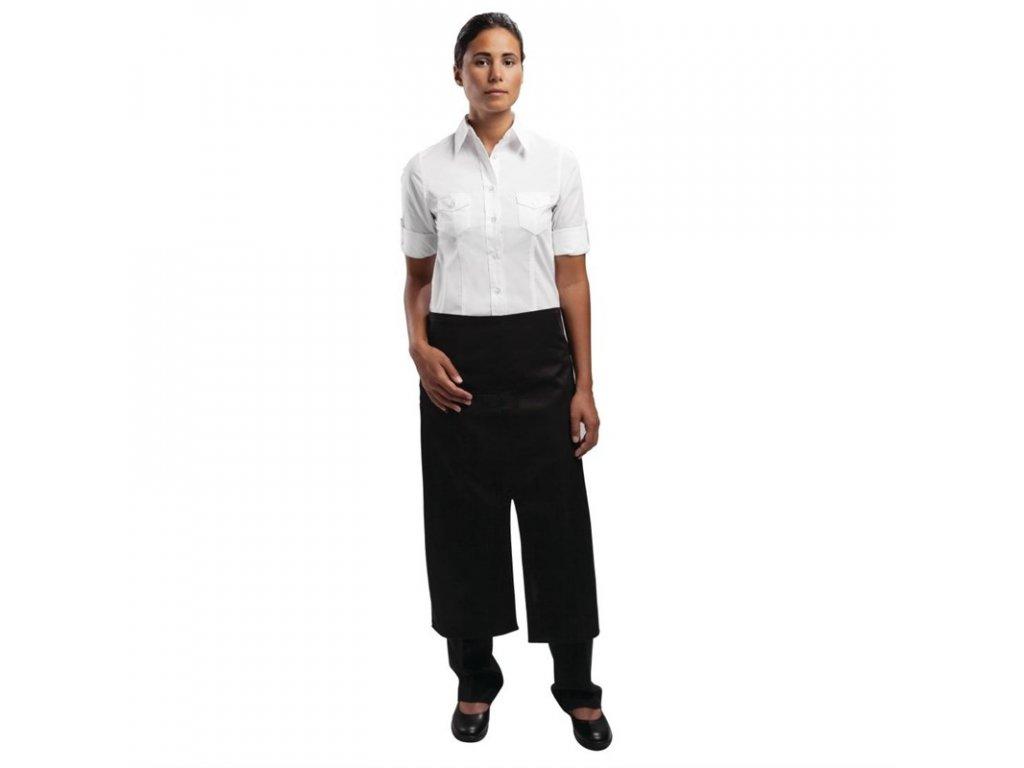 Uniform Works Bistro zástěra s rozdělenou přední částí černá