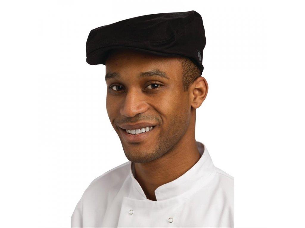 Chef Works plochá čepice černá