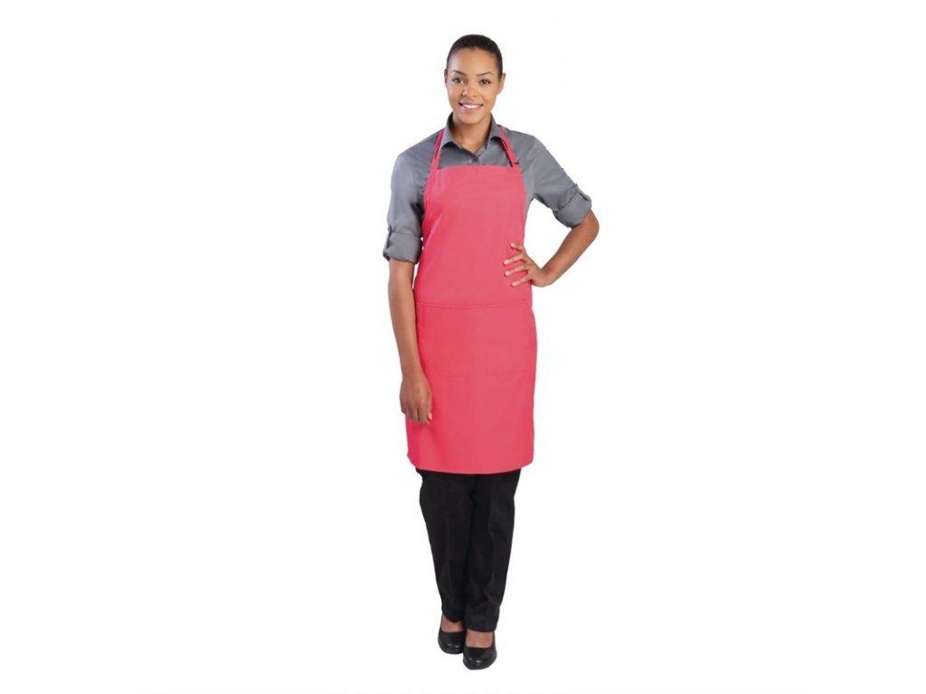 Colour by Chef Works Náprsní zástěra růžová