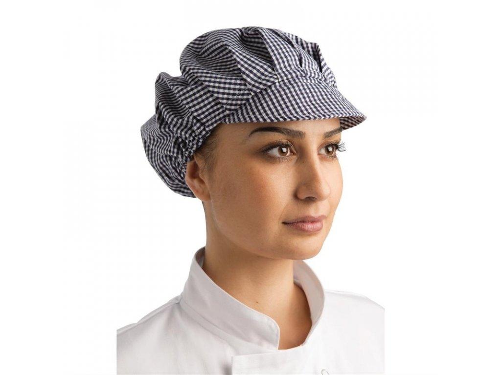 Whites čepice se štítkem kostkovaná modrobílá