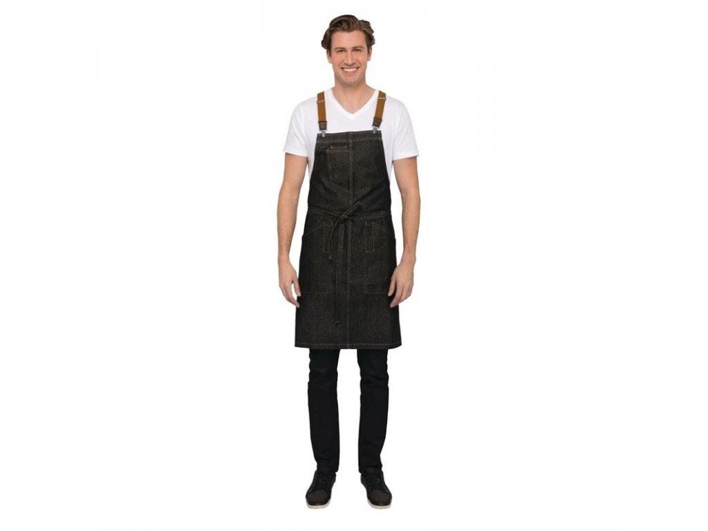 Chef Works náprsní zástěra Urban Berkeley džínová se šlemi černá