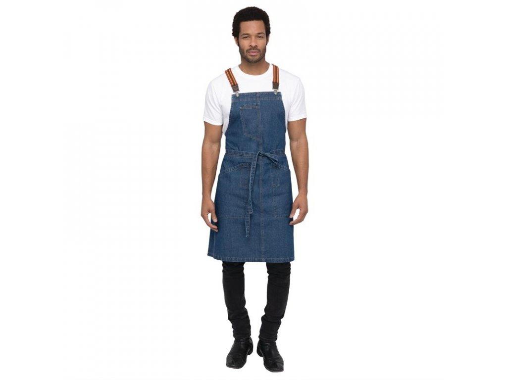 Chef Works náprsní zástěra Urban Berkeley džínová se šlemi středně modrá
