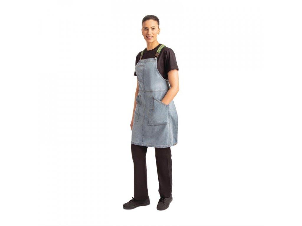 Chef Works náprsní zástěra Urban Berkeley džínová se šlemi blankytně modrá