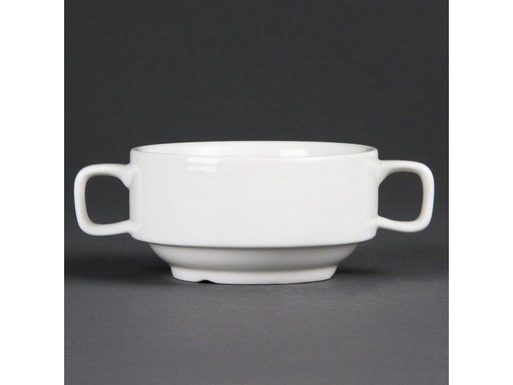 Olympia polévkové misky Whiteware s uchy 400ml
