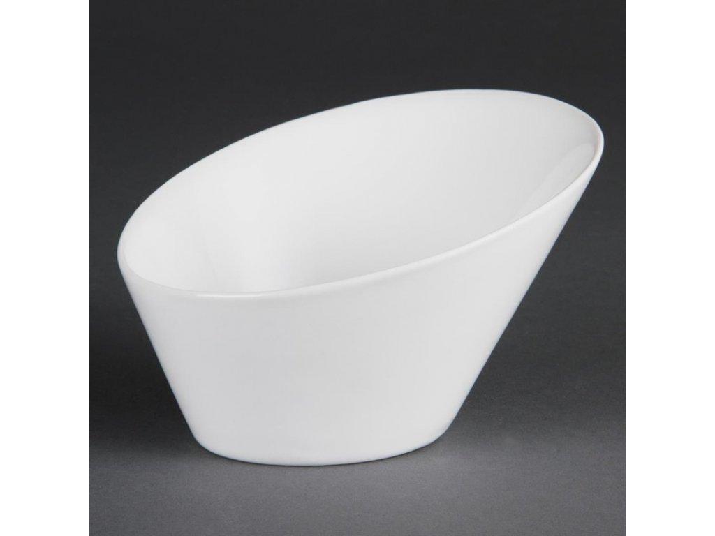 Olympia oválné šikmé misky Whiteware 154(D)x133(Š)mm