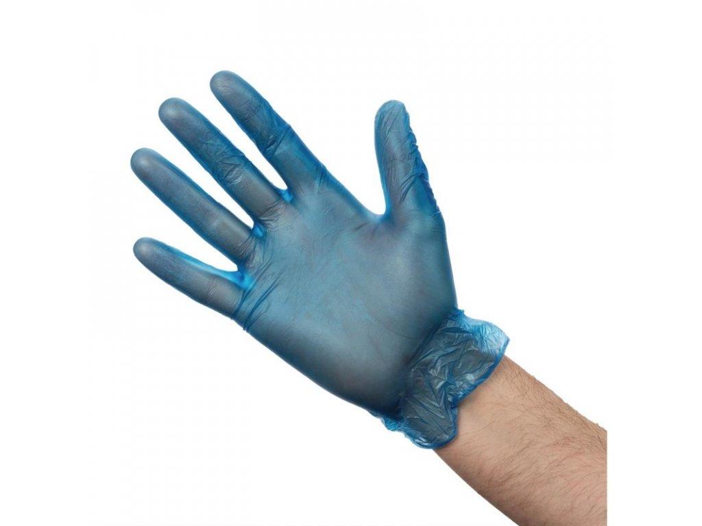 Vogue vinylové rukavice pre prípravu jedál modré pudrované