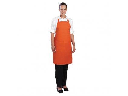 Colour by Chef Works Náprsní zástěra oranžová