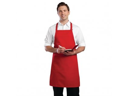 Colour by Chef Works Náprsní zástěra červená