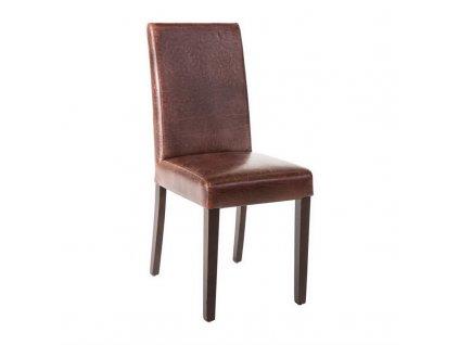 Bolero jídelní židle z umělé kůže antická hnědá (sada 2ks)