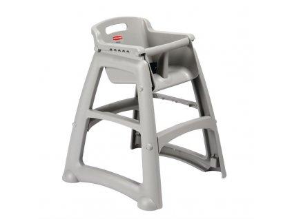 Rubbermaid vysoká židle robustní stohovatelná platinová