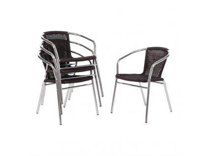 Bolero proutěné židle z proutí a hliníku černé (sada 4ks)