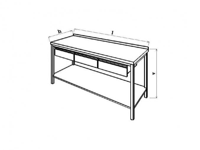 Pracovní stůl se zásuvkou  70x70x85