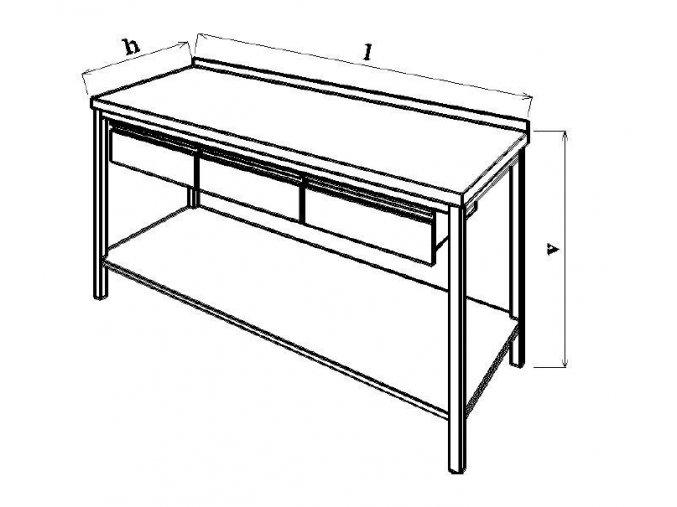 Pracovní stůl se zásuvkami 150x60x85