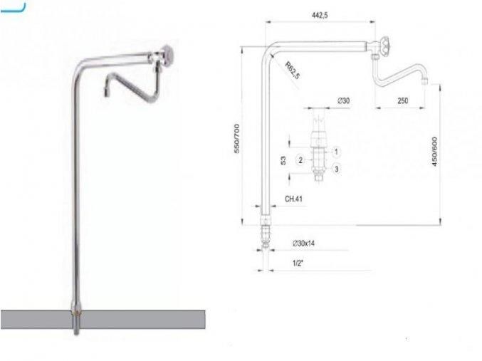 Napouštěcí rameno 1/2 stolní (700 mm )