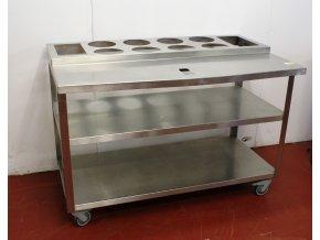 Nerezový stůl pojízdný s otvory