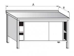 Stůl uzavřený s posuvnými dveřmi
