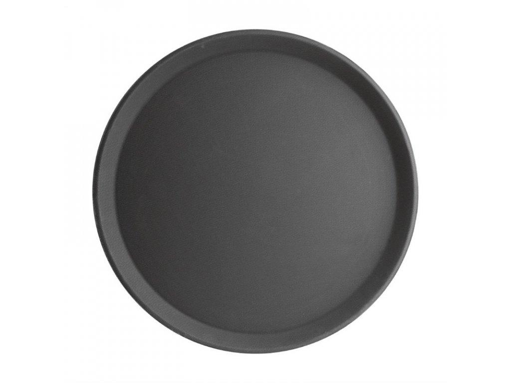 50827 kristallon kulaty protiskluzovy tac sklolaminatovy cerny 406mm