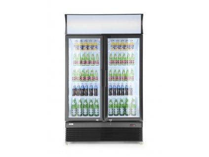 100977 prosklena chladnicka dvoje dvere 618l 230v 400w 2 10 c 1120x595x h 1965 mm