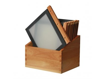 51949 securit desky na menu s drevenou vazbou v americkem stylu a ulozny box a4 cerne