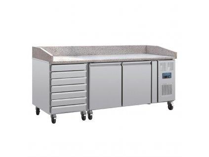63517 polar stul na pripravu pizzy s mramorovou deskou dvojici dvirek zasuvkami na testo a postrannim kompresorem
