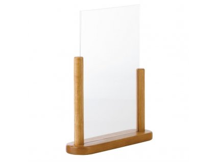 65620 securit akrylovy stojan na a4 menu s drevenym ramem