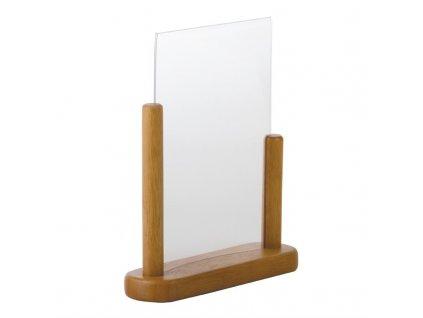 65623 securit akrylovy stojan na a5 menu s drevenym ramem