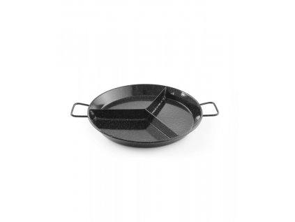 Smaltovaná paella pánev s přihrádkami - 3 přihrádky - ø430x(H)47 mm