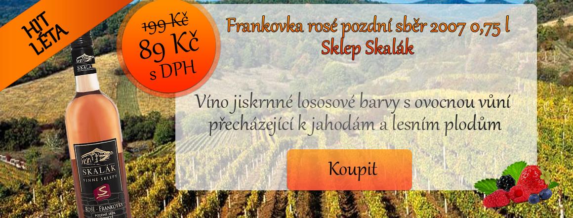 Frankovka rosé pozdní sběr 2007 0,75 l Sklep Skalák