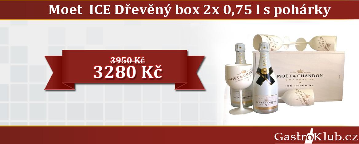 MOET CHANDON ICE DŘEVĚNÝ BOX 2X 0,75 L SE SKLENIČKAMI