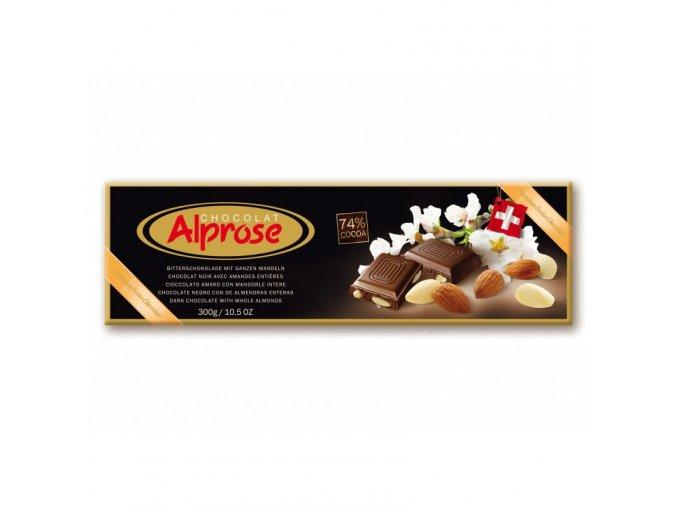 Alprose 74% hořká čokoláda s mandlemi 300g