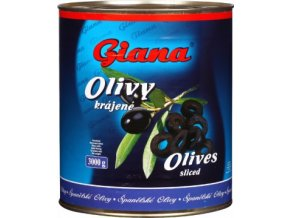 Olivy černé bez pecky krájené v plechu 3 Kg Giana