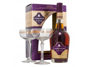 courvoisier vsop cognac gift set with 2 stem glasses 70cl
