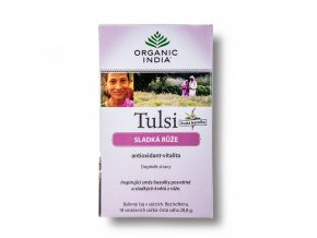 BIO Čaj Tulsi sladká růže - bazalka a květy růže sáčkový 18ks Organic India