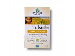 BIO Čaj Tulsi sladký citron - bazalka zelený čaj citrónová tráva a zázvor sáčkový 18ks Organic India