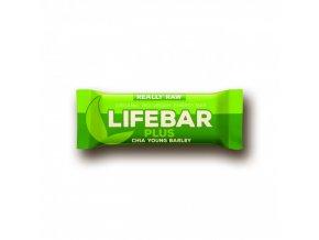 BIO Lifebar plus chia semínka a mladý ječmen tyčinka RAW 47g Lifefood