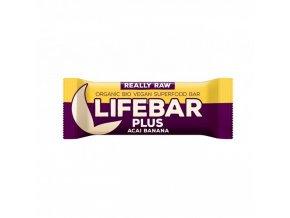 BIO Lifebar plus acai s banánem tyčinka RAW 47g Lifefood