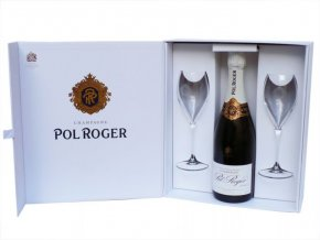 Pol Roger Brut Reserve dárkový box 2 sklenice 0,75l