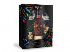 Ron Zacapa Centenario 23 Aňos se skleničkami 0,7 l  Dárkové balení