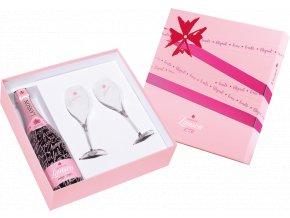 Lanson Rosé Brut Label 0,75l dárkové balení se skleničkami