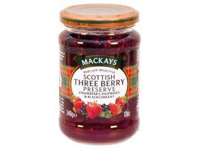 Scottish Three Berry Preserve - Džem z jahod malin černého rybízu 340g Mackays